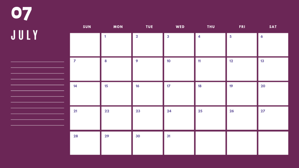 Printable July Calendar 2019