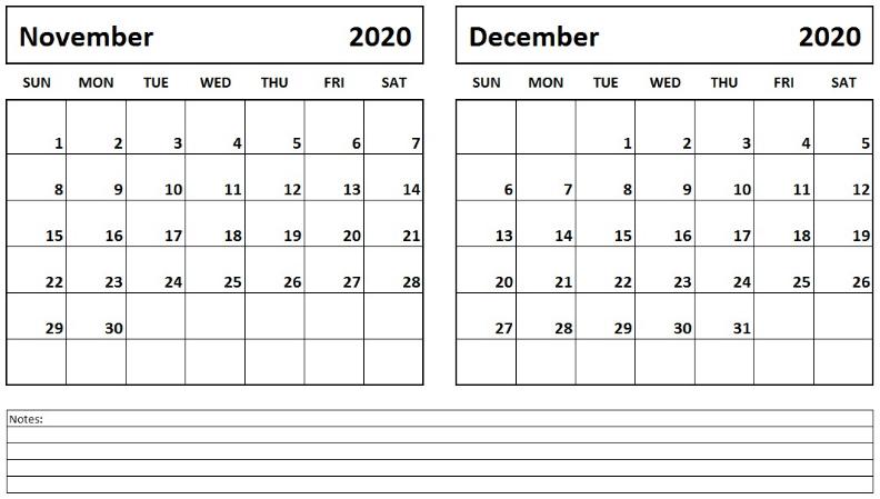Printable November December 2020 Calendar