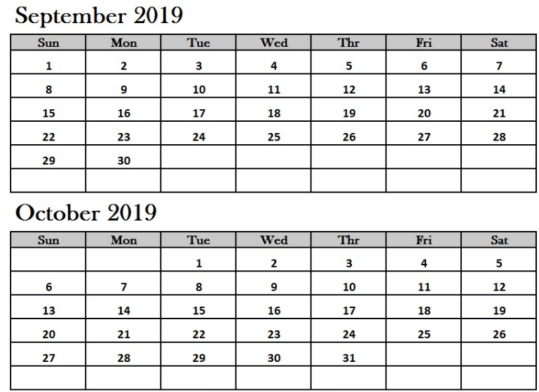 Printable September October 2019 Calendar