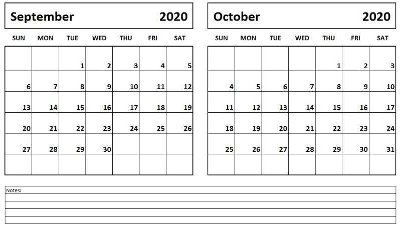 Sept Oct 2020 Calendar Printable