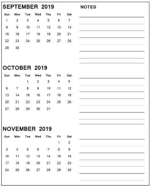 September October 2019 Calendar Page