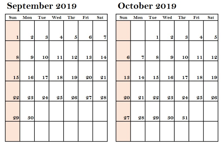 September October 2019 Calendar Printable