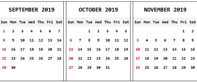 September October 2019 Calendar Word