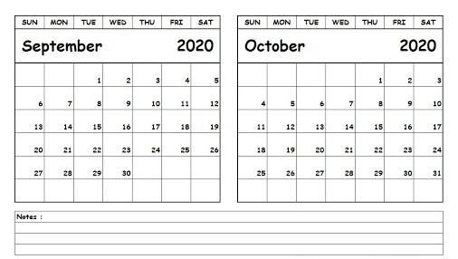 September October 2020 Calendar PDF Word Excel Notes