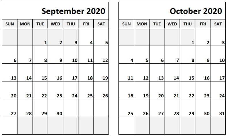 September October 2020 Calendar