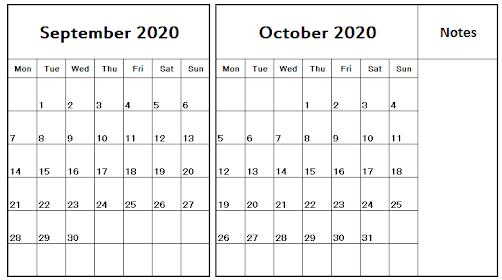 September October Calendar 2020