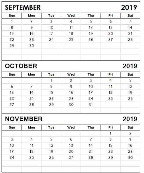 September October November 2019 Calendar