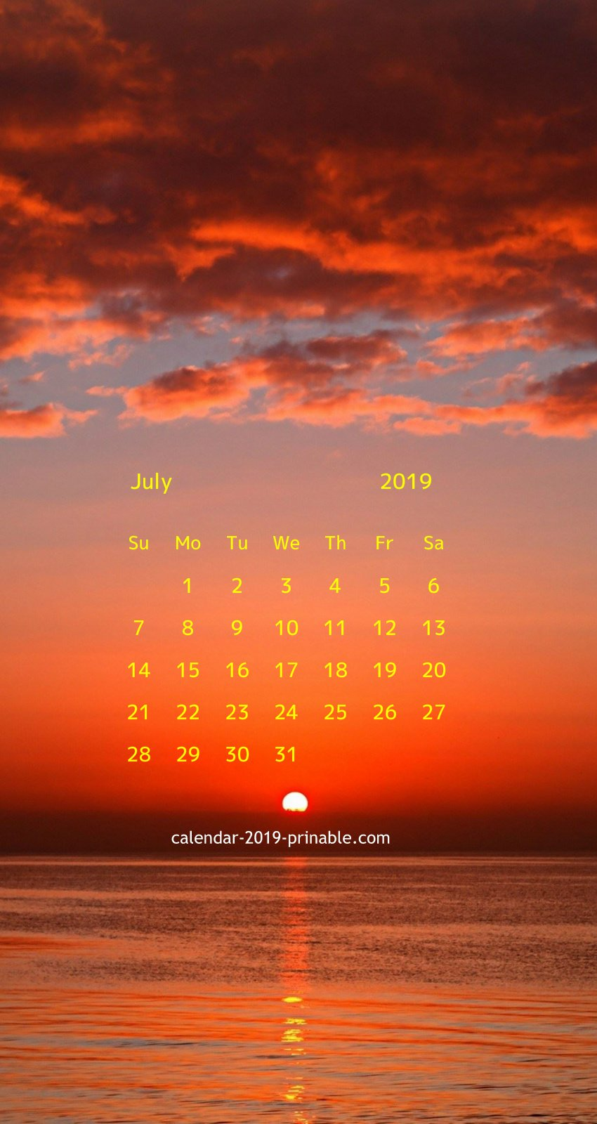 iPhone Calendar Wallpaper For July 2019