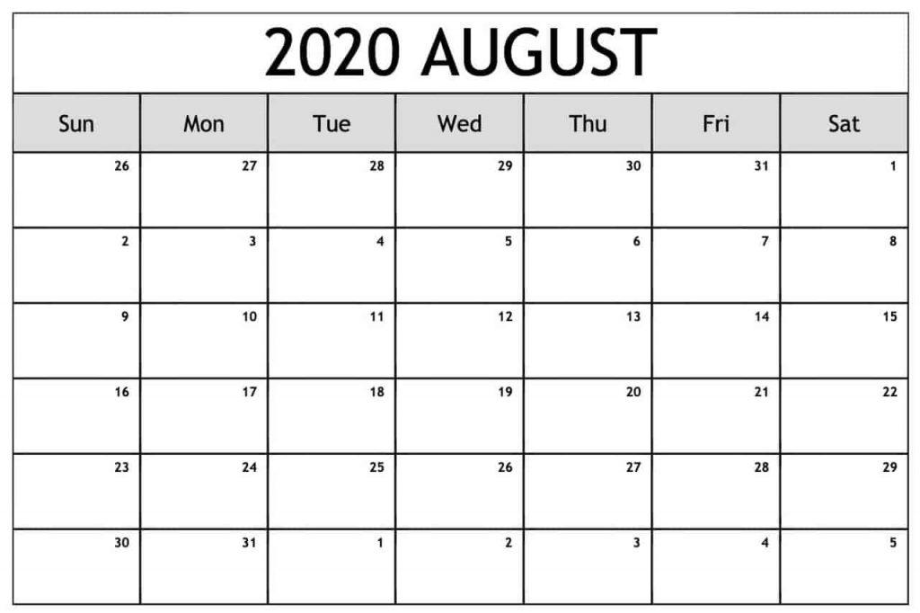 2020 August Calendar Printable