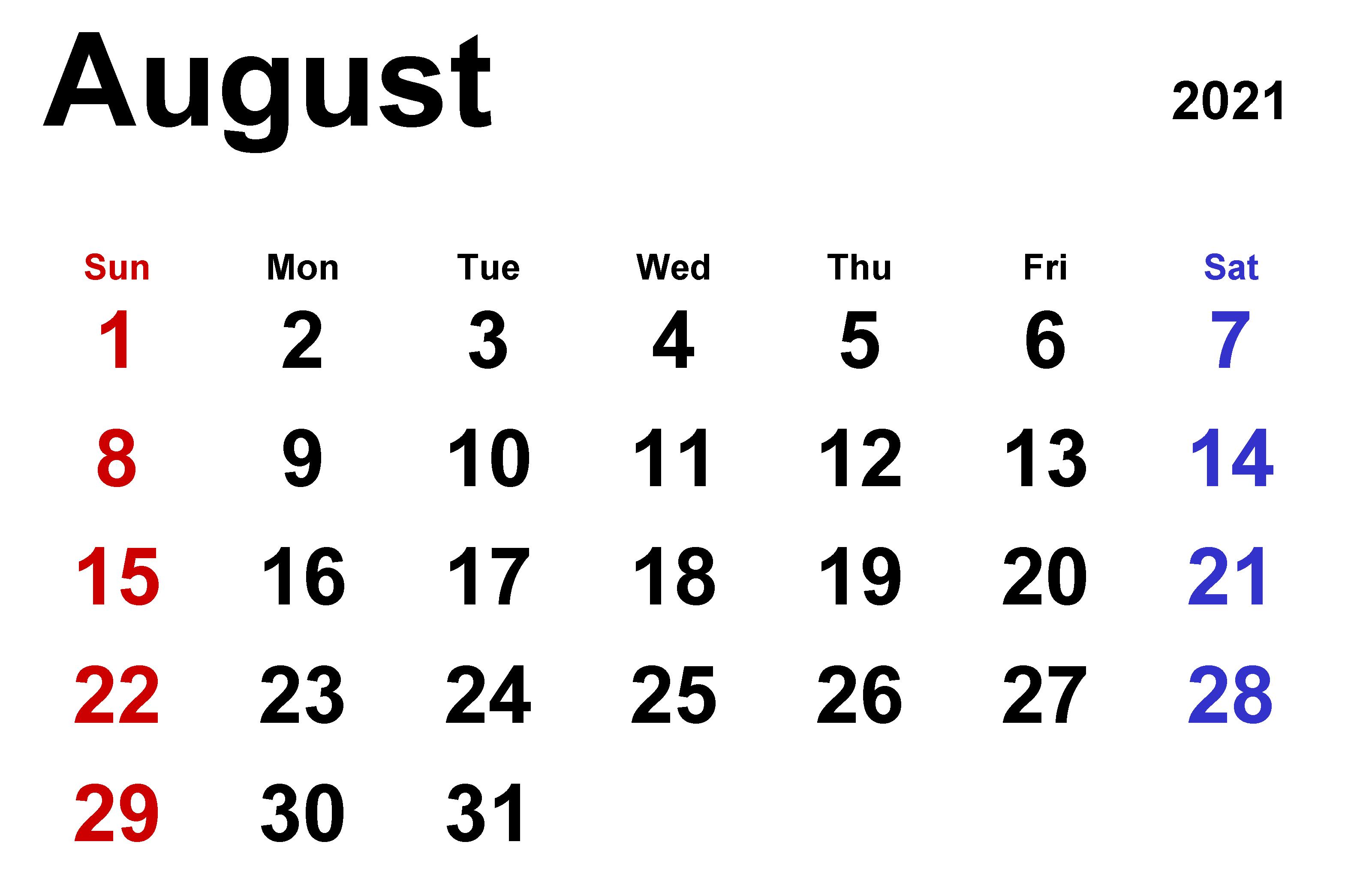 August 2021 Calendar Excel Template