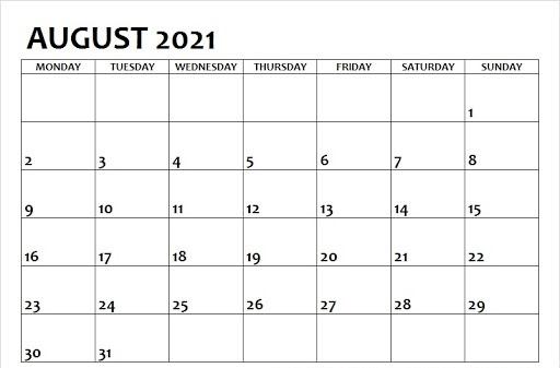 2021 August Calendar Monday Start