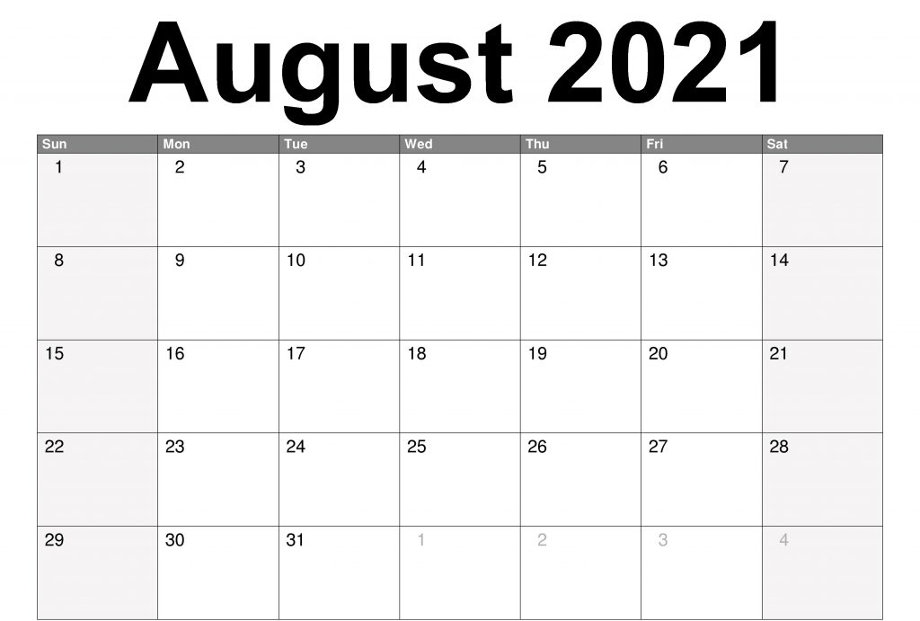 August 2021 Printable Calendar With Lines