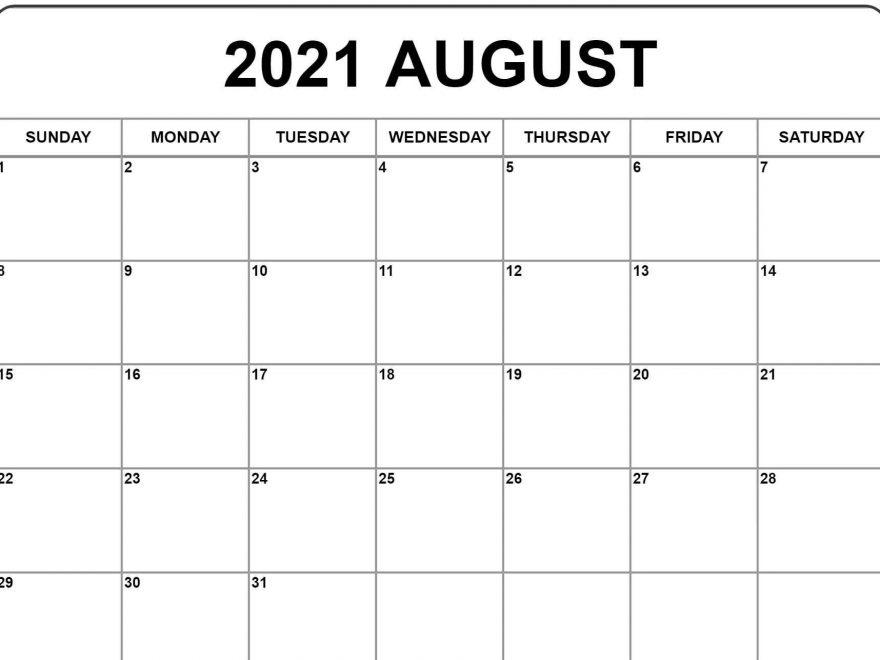 August Calendar 2021 Excel