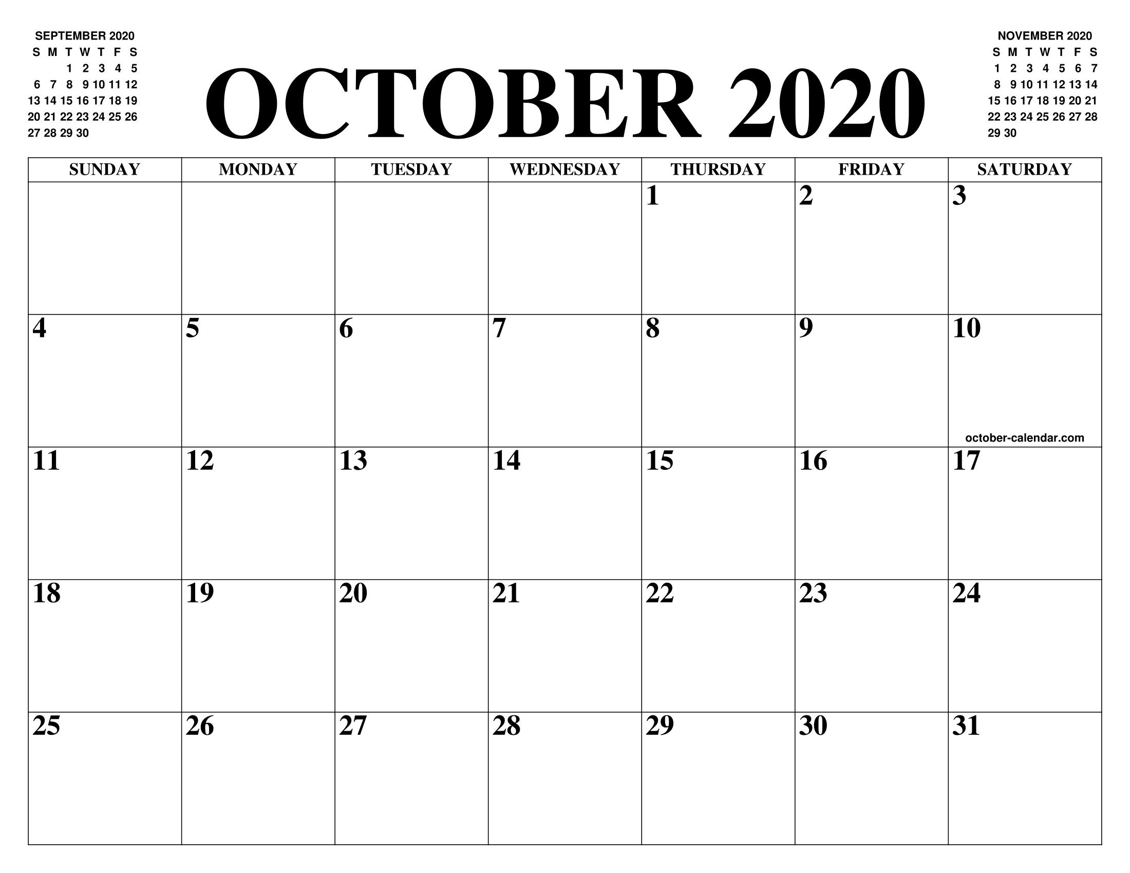 Calendar For October 2020 PDF