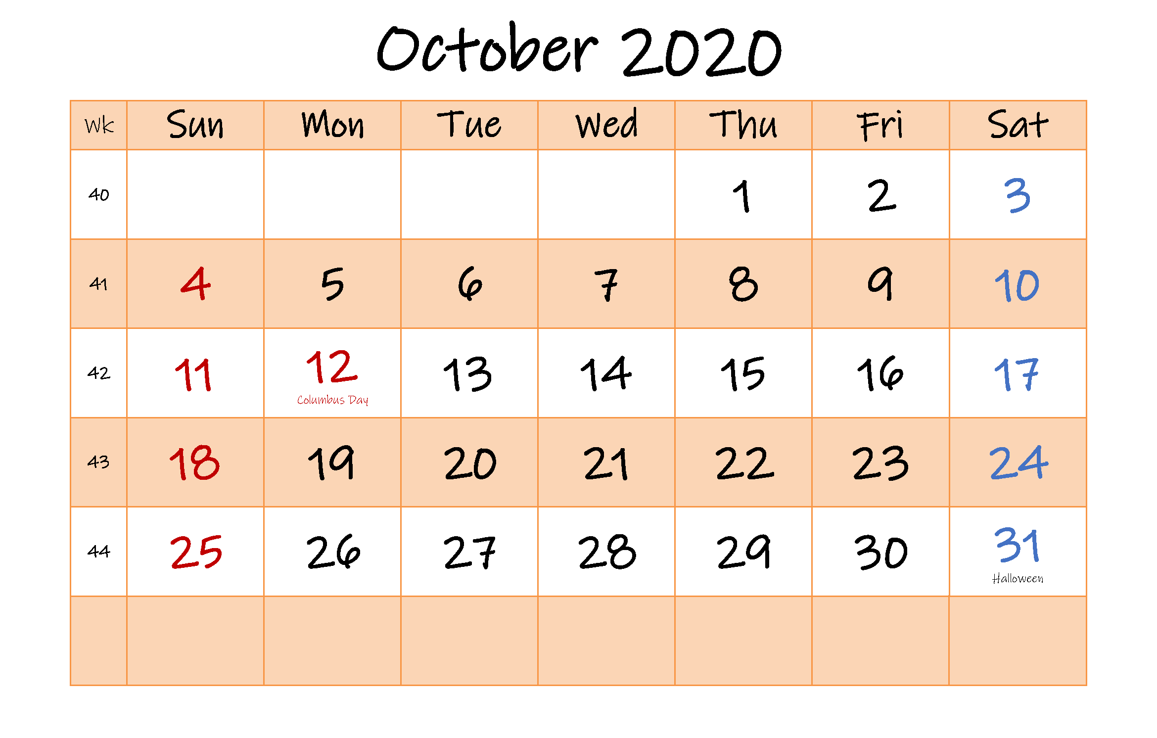 Calendar For October 2020 Template
