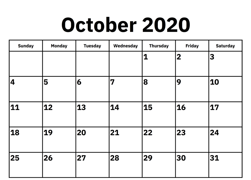 Calendar For October 2020 Word