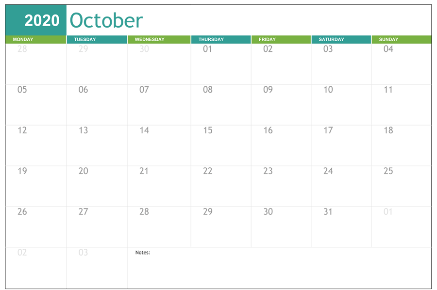 Calendar For October 2020