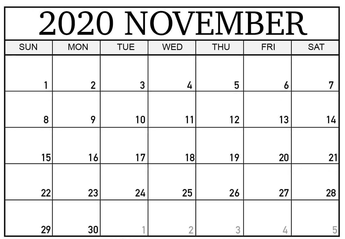 Calendar November 2020 Landscape
