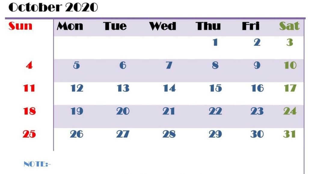 Editable Calendar For October 2020