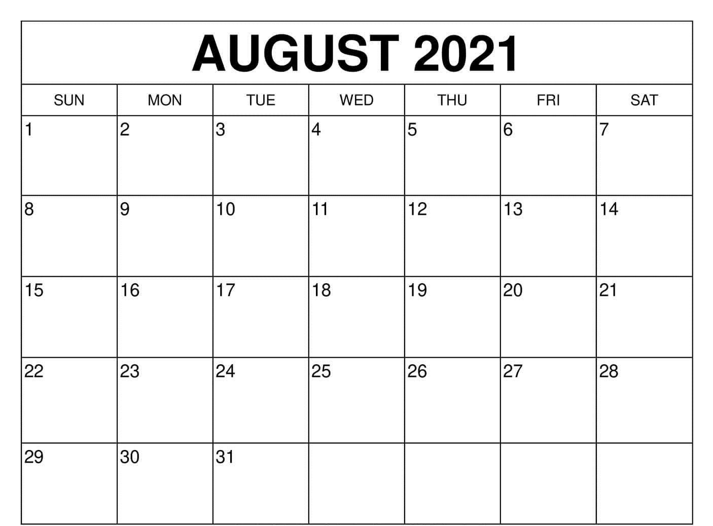 Free August Calendar 2021 Excel