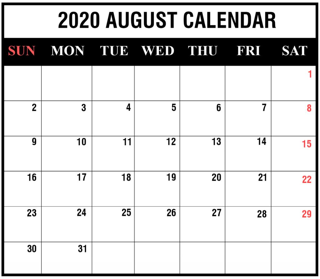 Free Printable Editable August 2020 Calendar