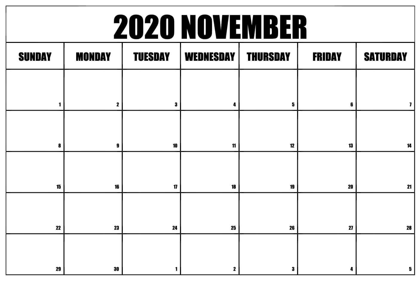 November 2020 Calendar Blank