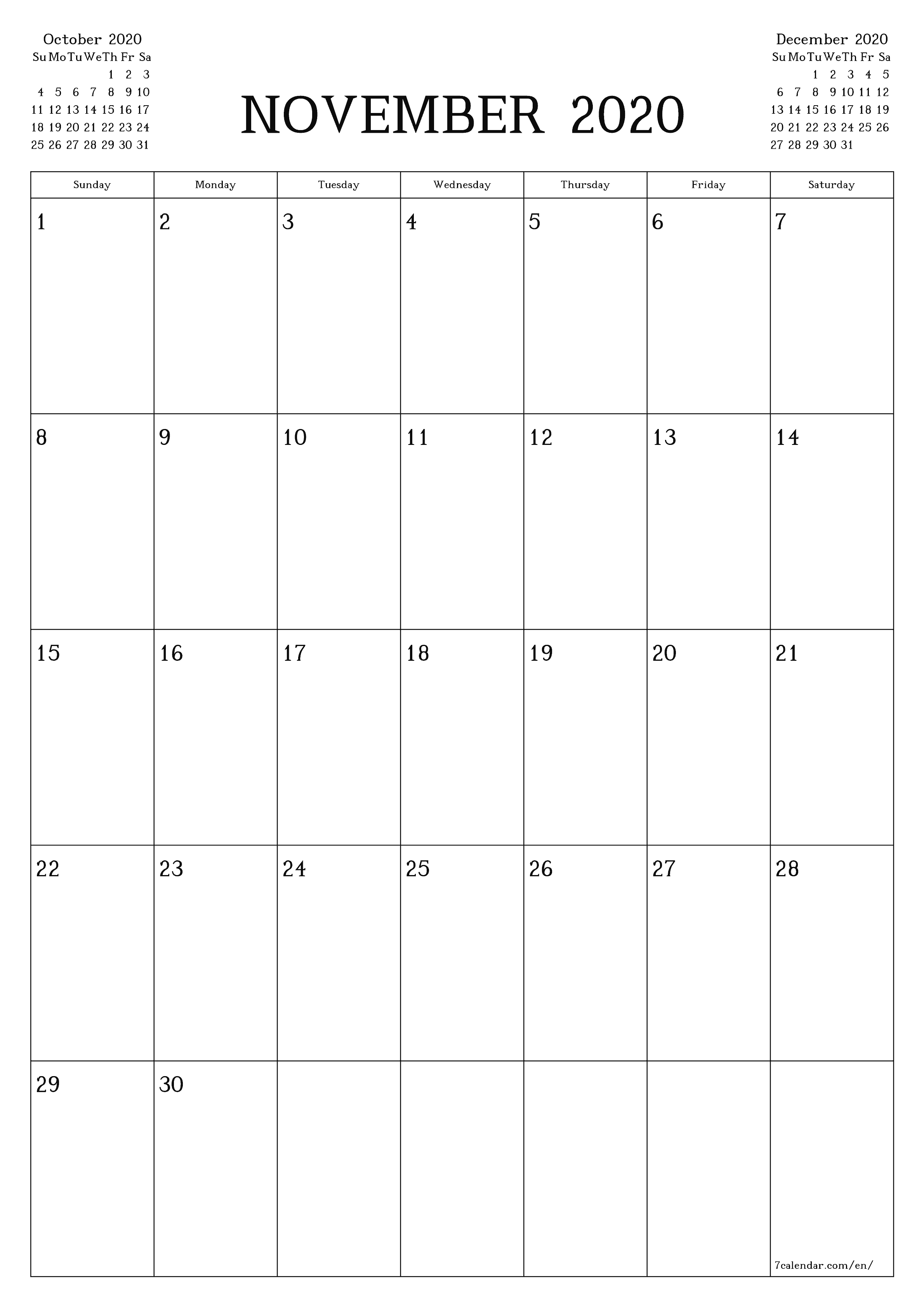 November 2020 Calendar Excel