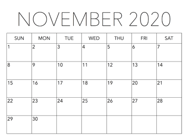November 2020 Calendar PDF