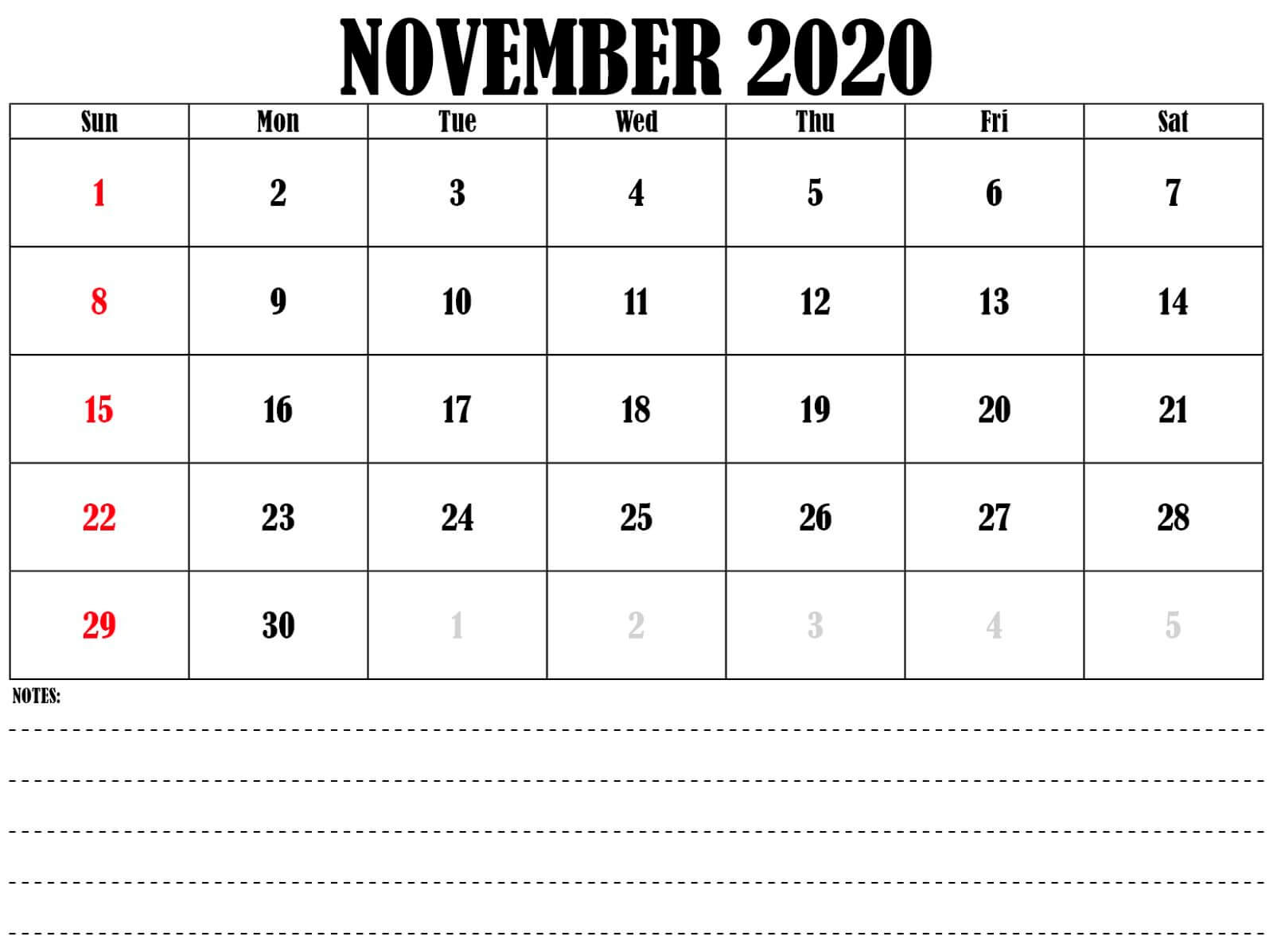 November 2020Calendar Portrait