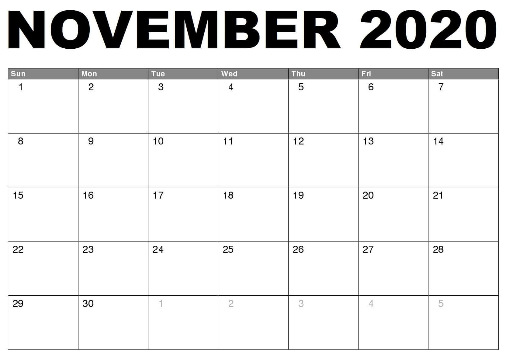 November 2020 Printable Calendar Templates