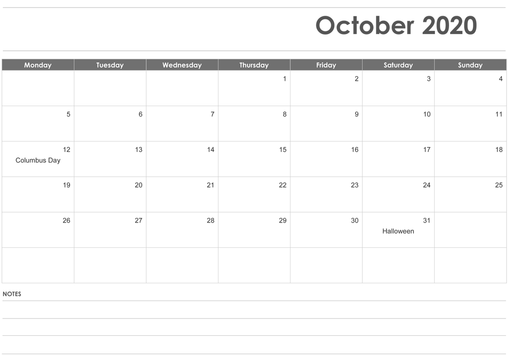 October Calendar 2020 Template with Notes