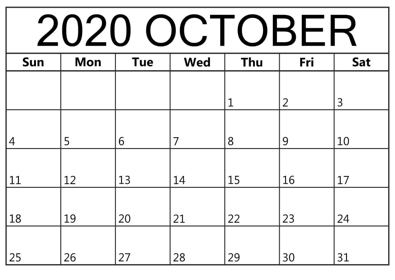 Printable 2020 October Calendar Blank
