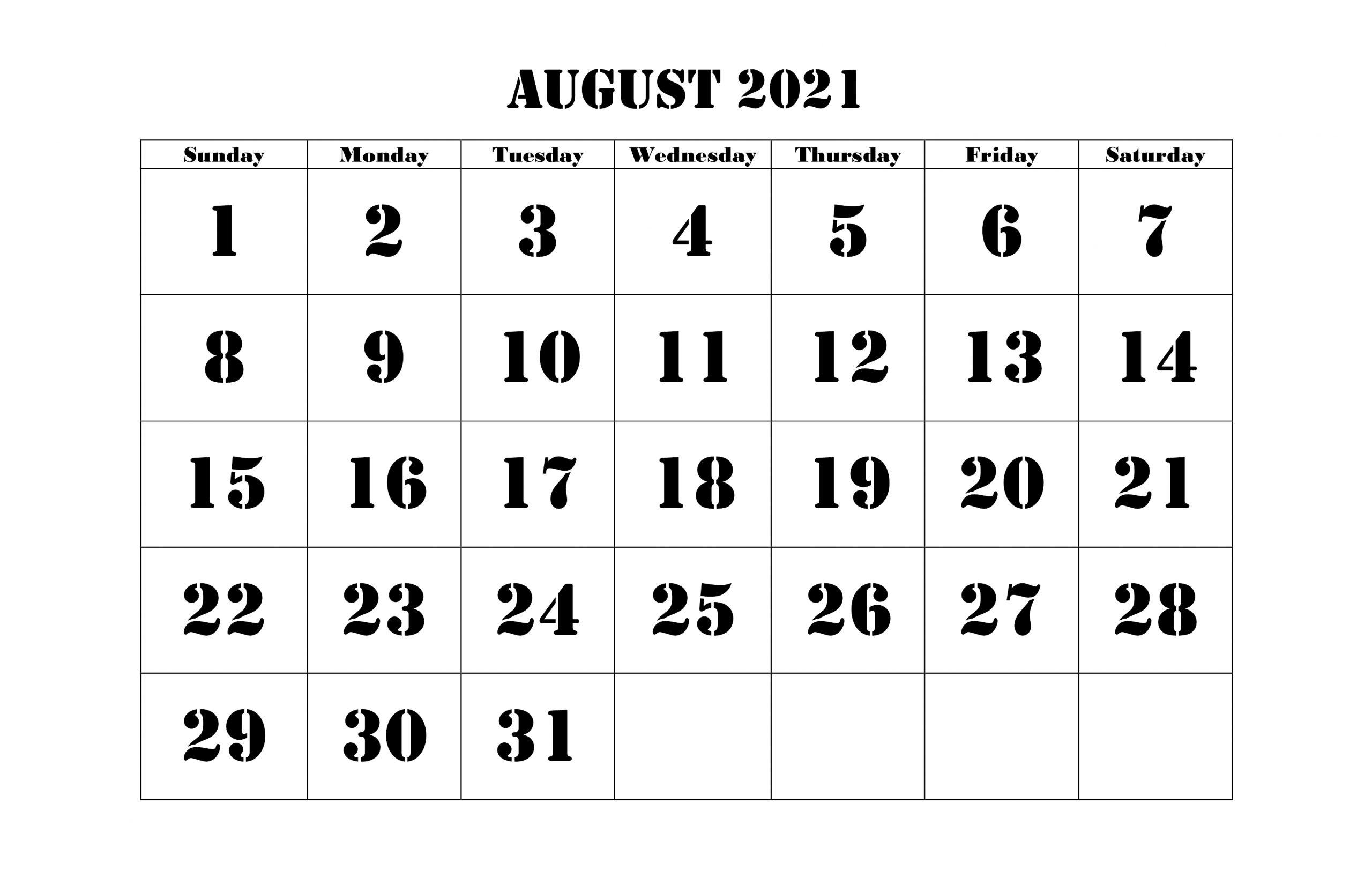 Printable 2021 August Calendar Template
