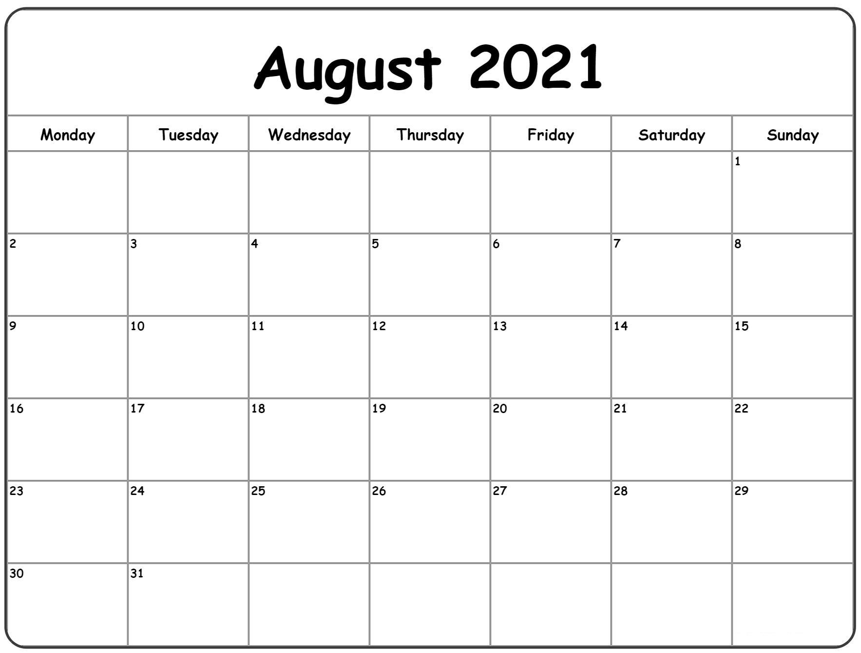 Printable August Calendar 2021 Excel