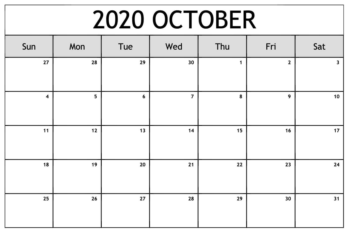 Printable Calendar For October 2020 Blank Template