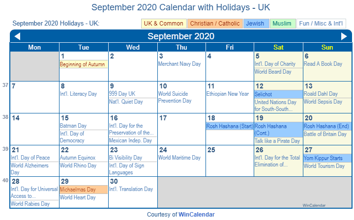 September 2020 Calendar Holidays UK