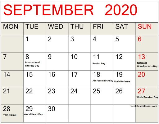 September 2020 Calendar With Holidays and National Days
