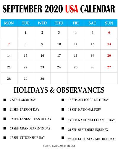 September 2020 USA Calendar