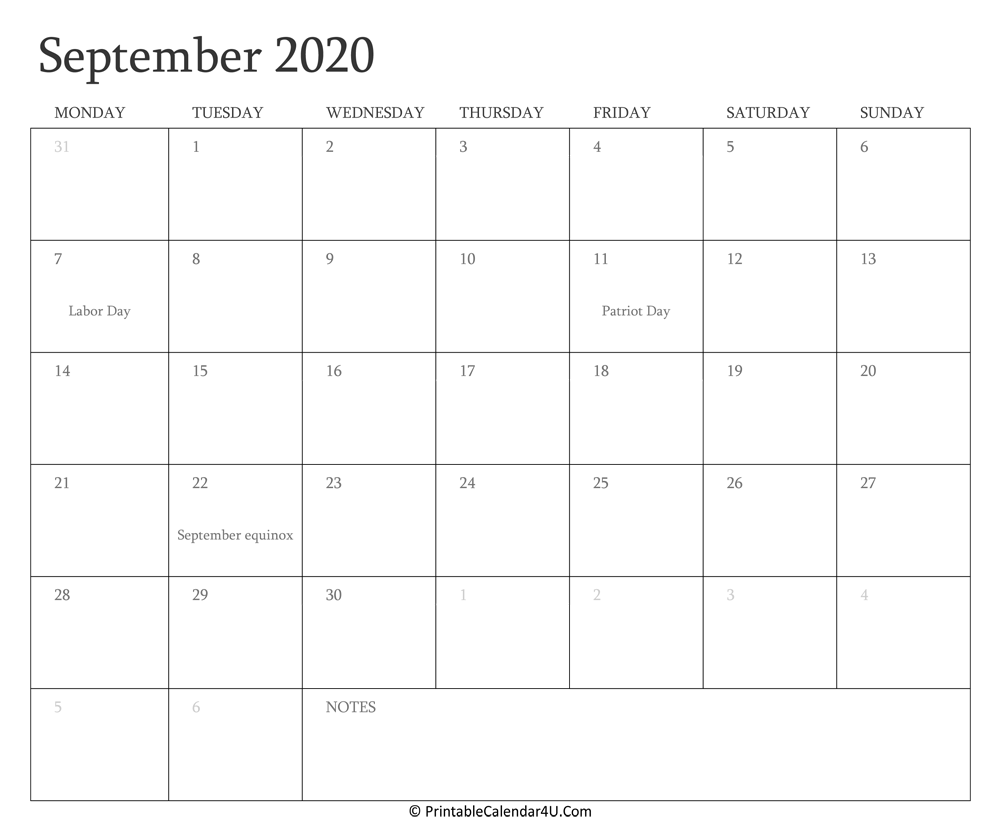 september 2020 calendar holidays printable