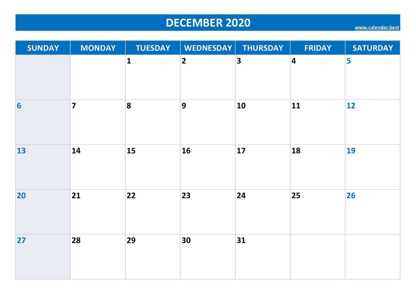 2020 December Calendar Excel