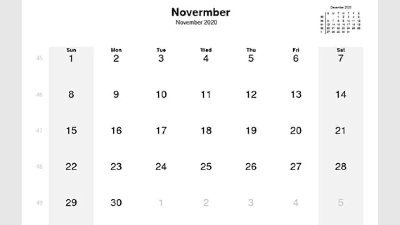 2020 November Editable Calendar