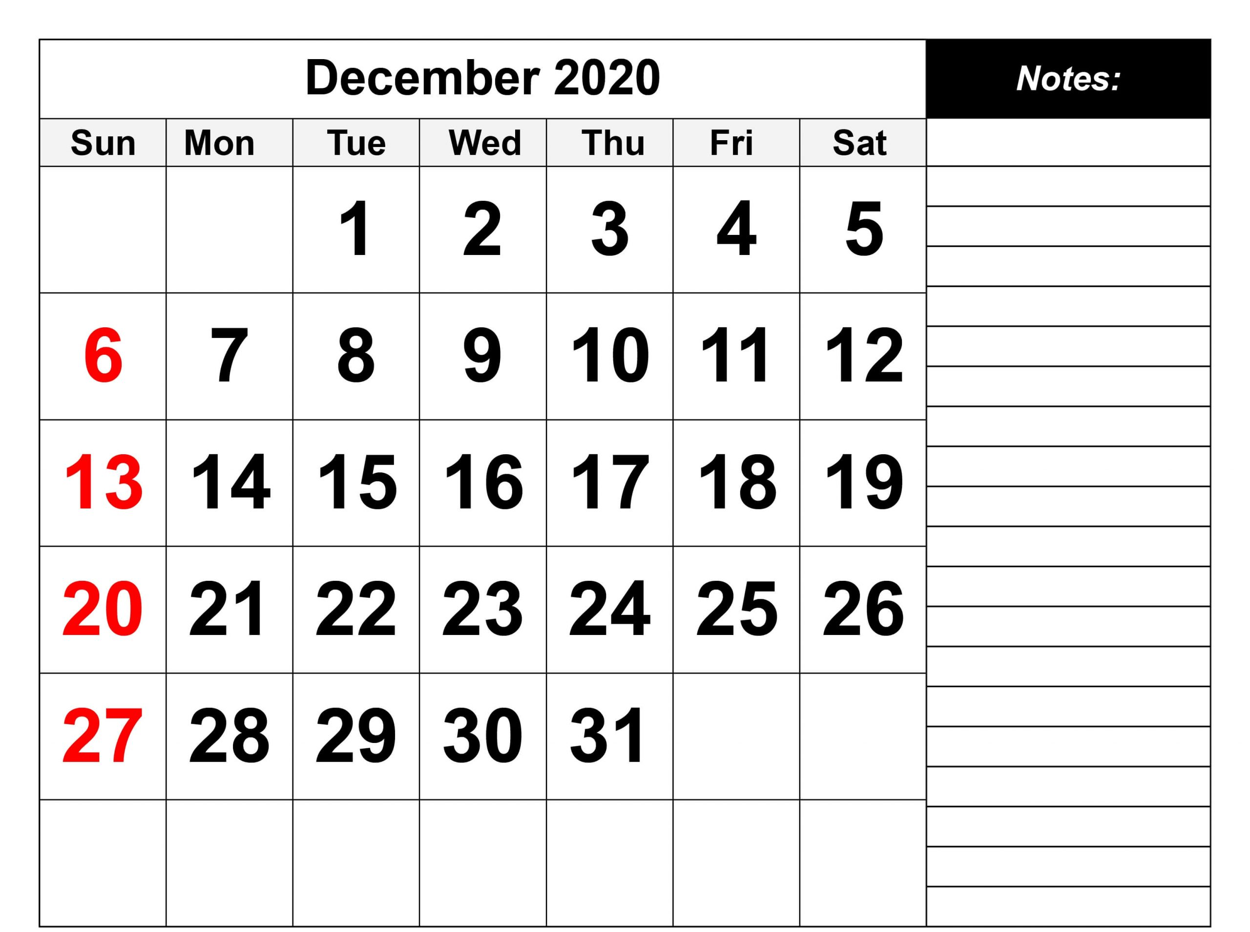 Blank December 2020 Calendar Template