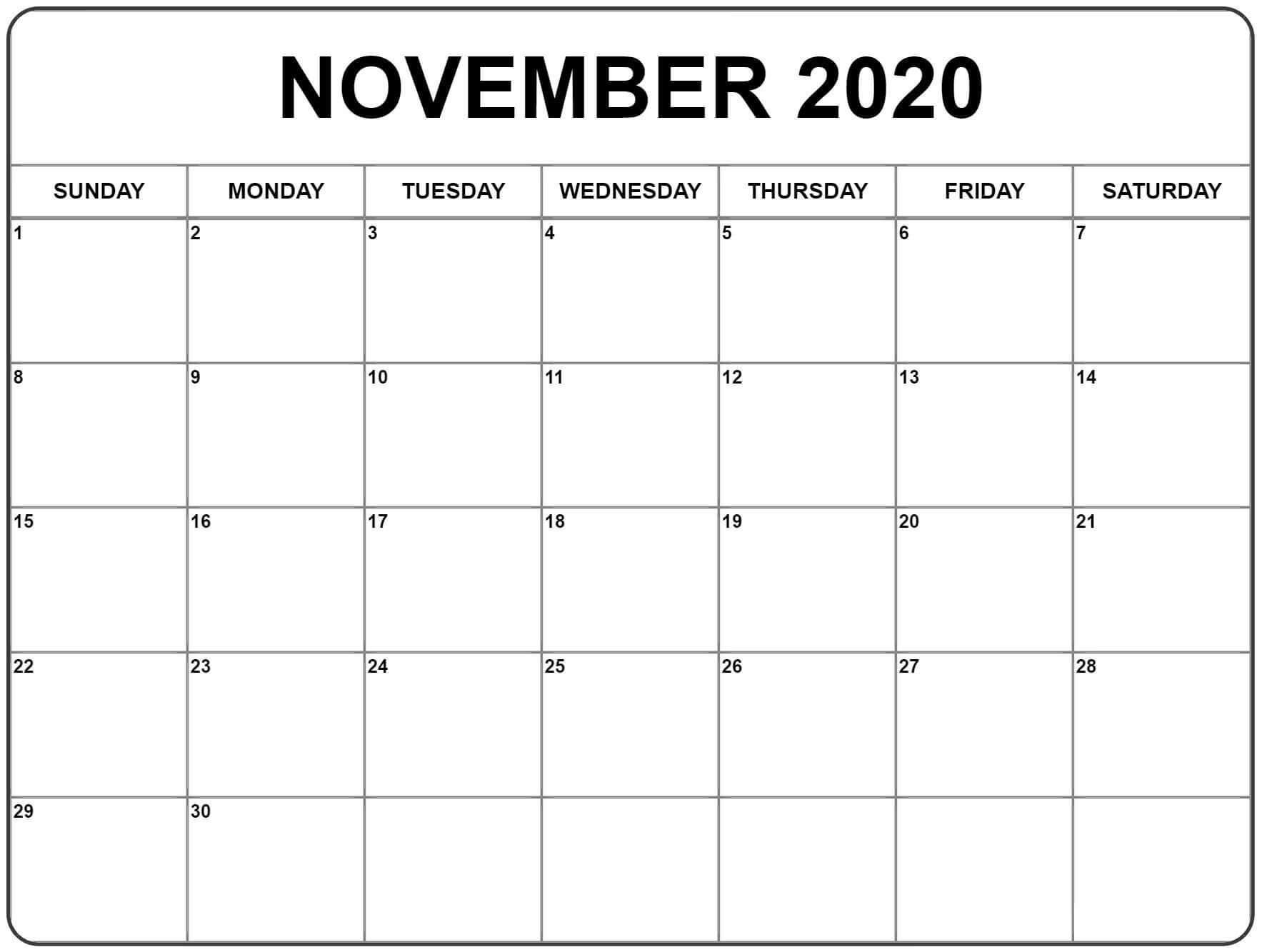 Blank November 2020 Calendar Editable Template