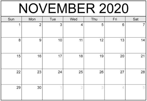 Blank November Calendar 2020 Template