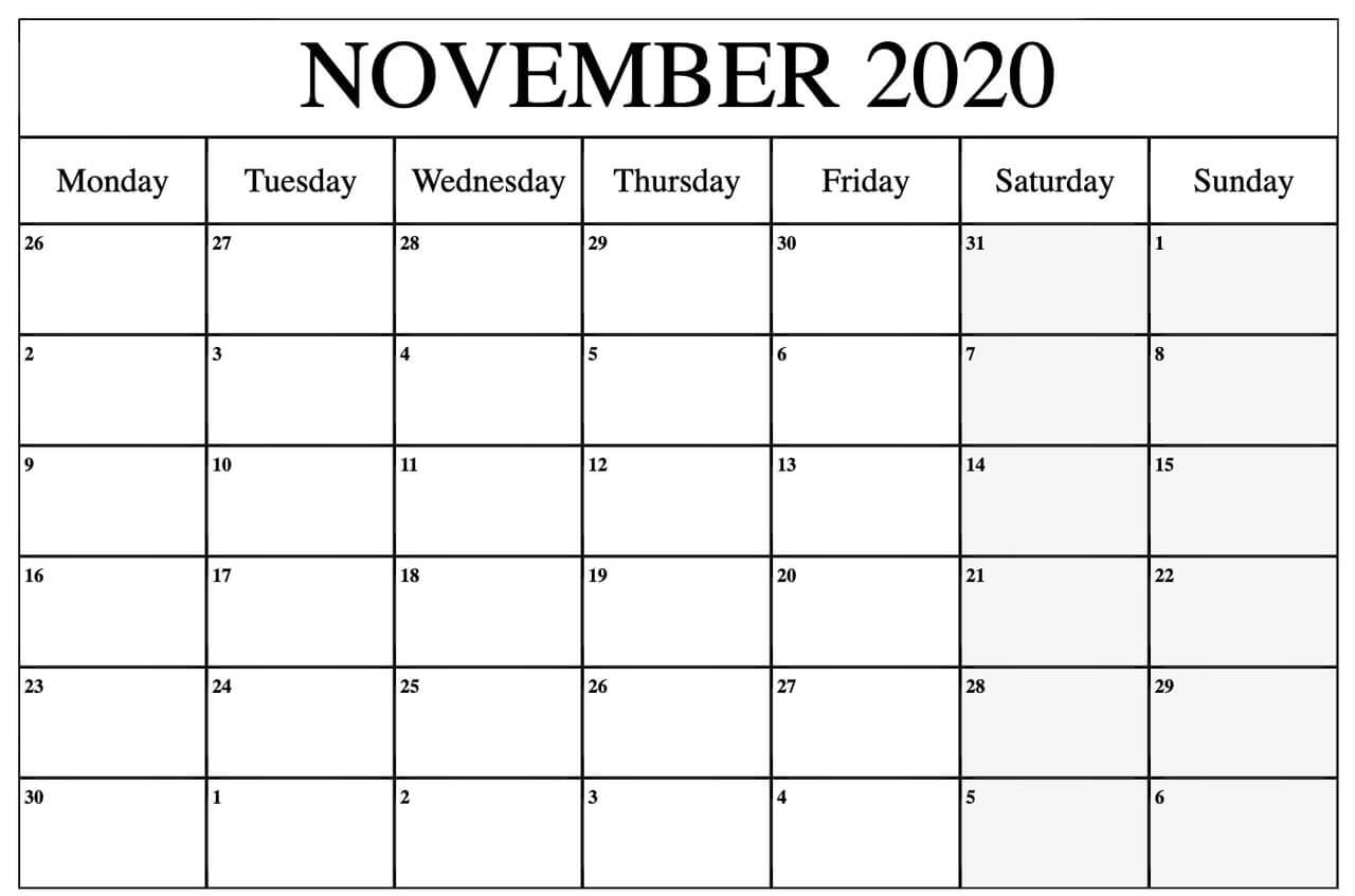 Blank November Calendar 2020