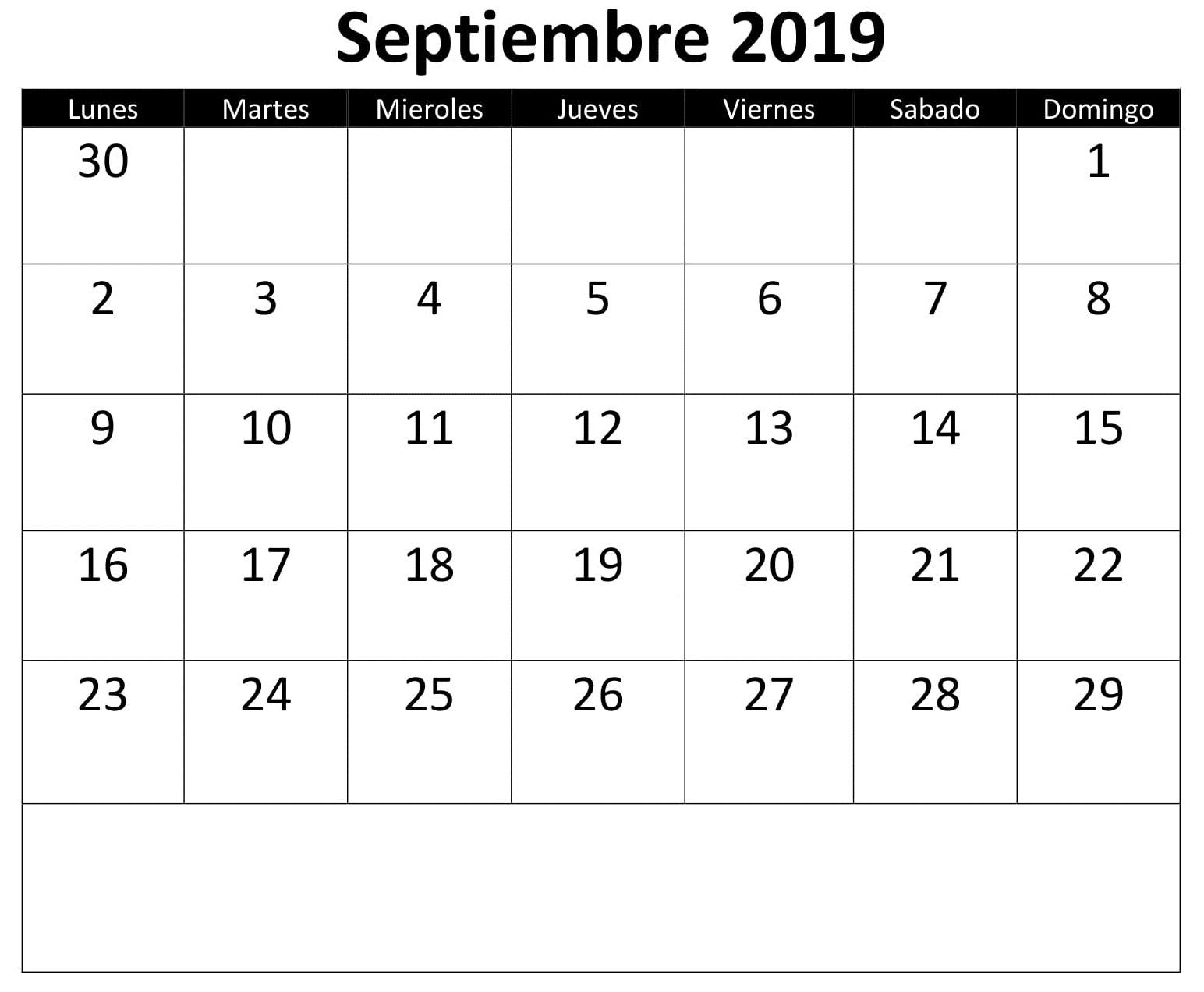Calendario Septiembre 2019 Excel