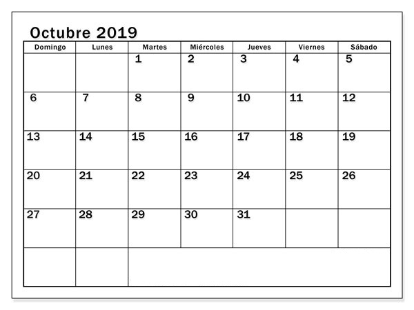Calendario de octubre de 2019 para imprimir