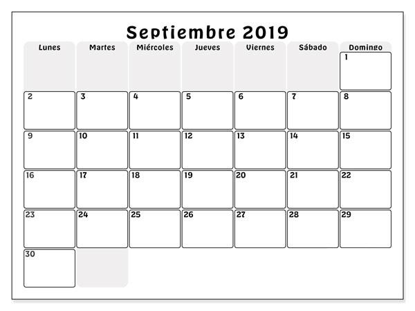 Calendario de septiembre de 2019 PDF