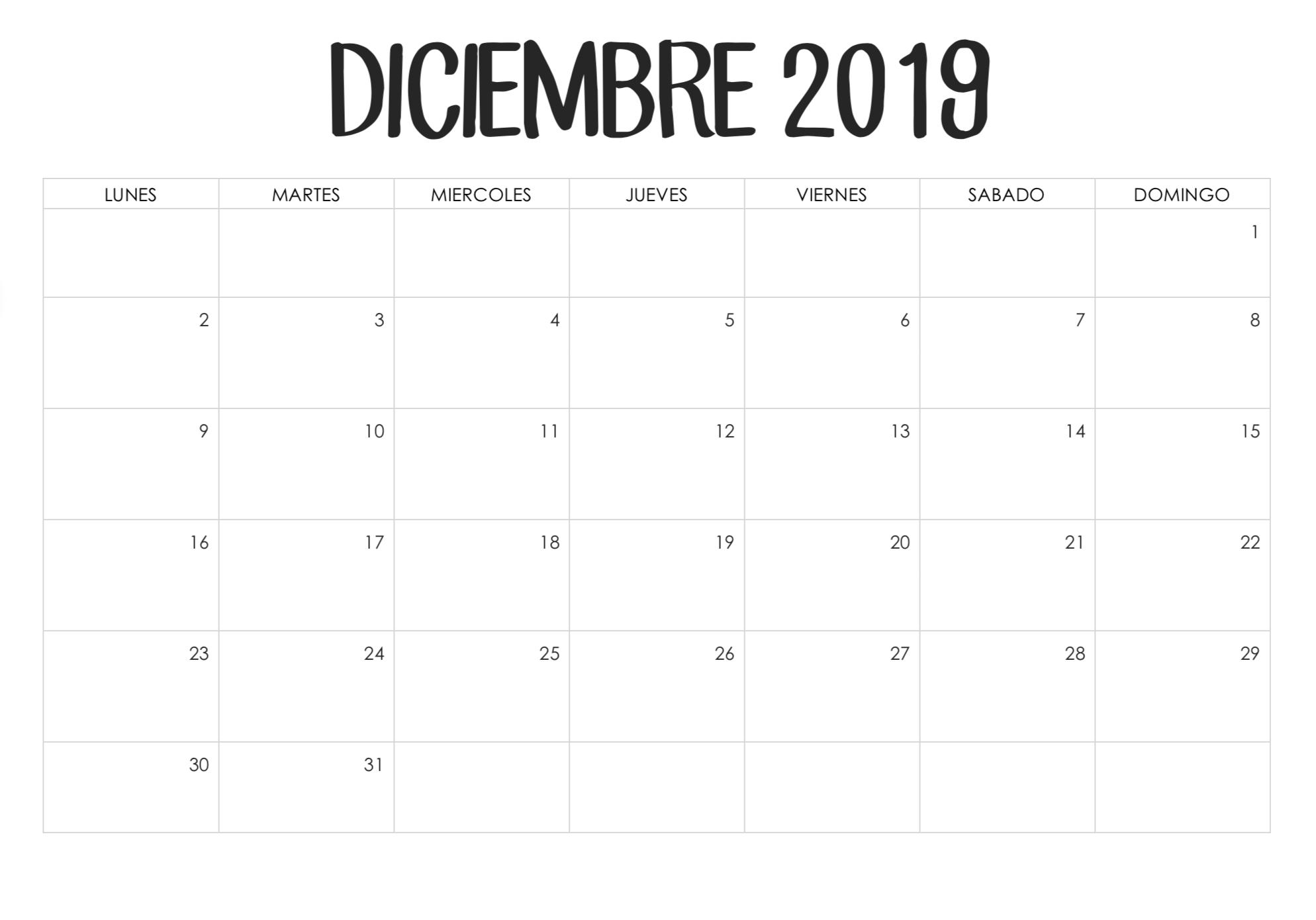 Calendario en blanco de octubre de 2019