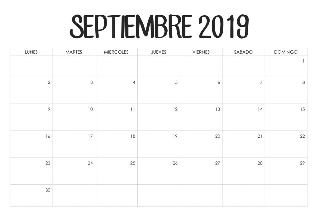 Calendario en blanco de septiembre de 2019